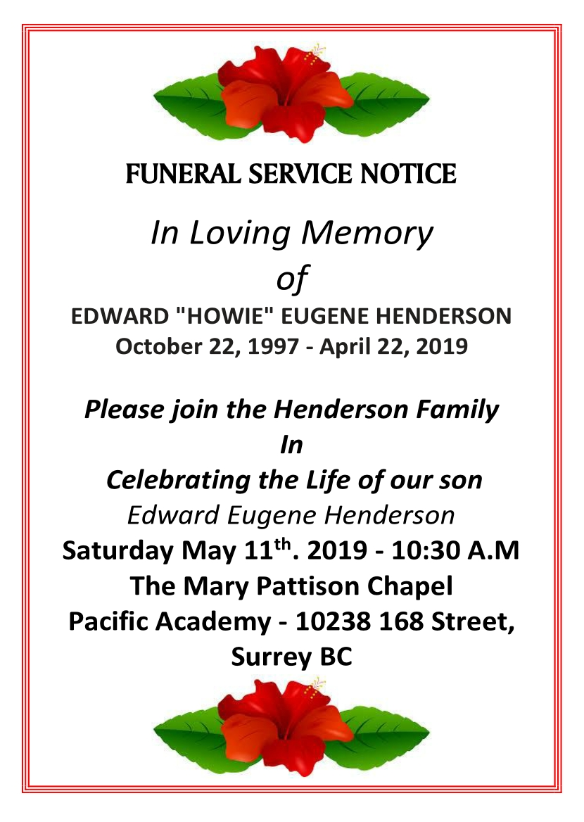 Howie Henderson Celebration of Life